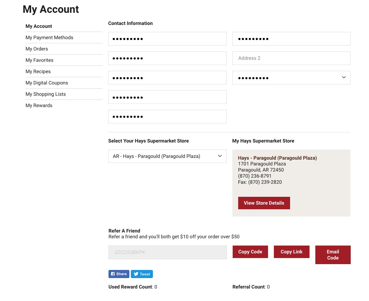 "Screenshot of ""My Account"" Page."