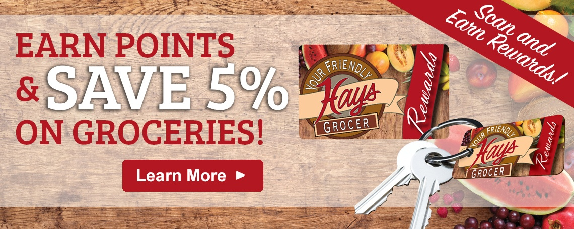 Earn Points and Save 5% on Groceries - Scan and earn rewards! Learn More